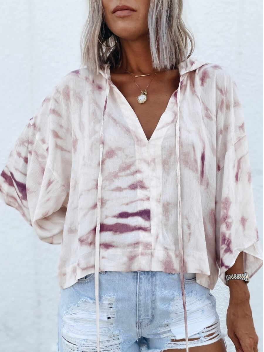 LW Lovely Casual Hooded Collar Tie-dye White Blouse