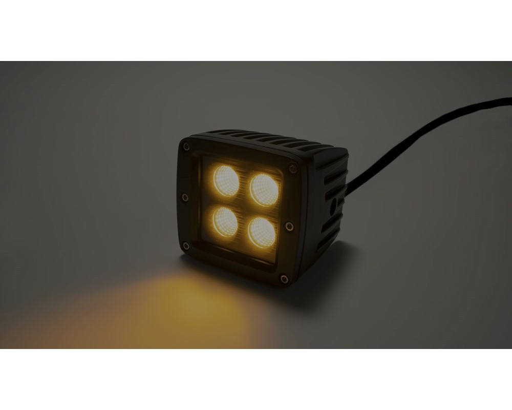 Top Gun Customz TGC77916 2 Inch Square Cree LED Flood Cube Light Single Unit Black Series Amber/White Includes Hardware Harness Sold Separately