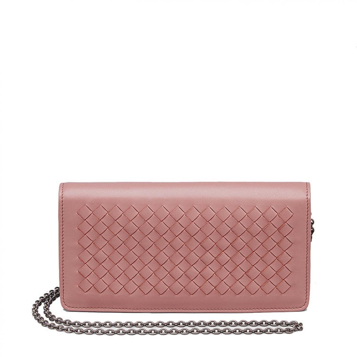 Bottega Veneta - Pochette   pour femme en cuir - rose
