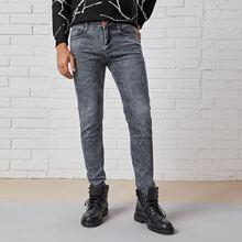 Men Washed Zipper Fly Skinny Jeans