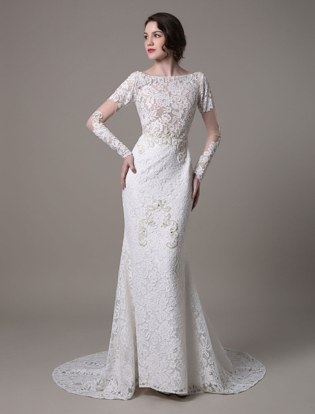 Milanoo Vintage Lace Wedding Dress With Long Sheer Sleeves And Pearls Applique