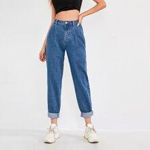 High Waisted Slant Pocket Fold Pleated Jeans
