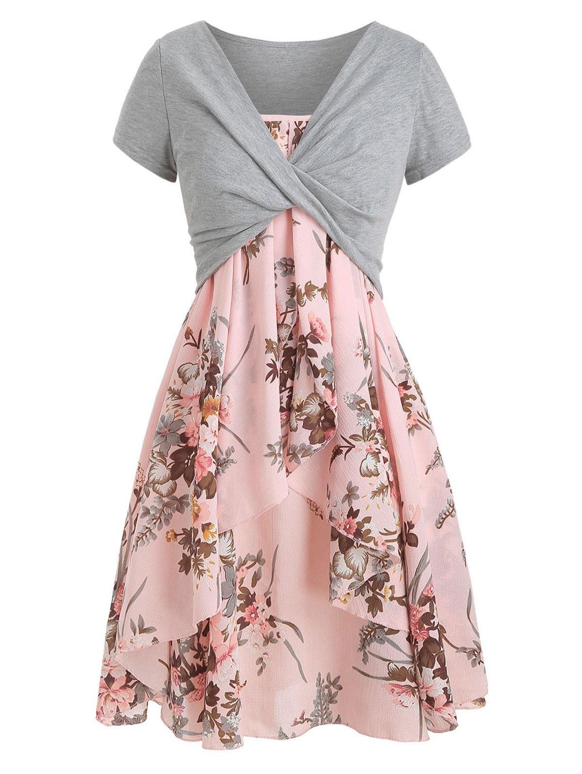 Cami Flower Dress with Crop T-shirt