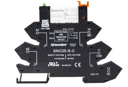 RS PRO , 110V ac SPDT Interface Relay Module, DIN Rail