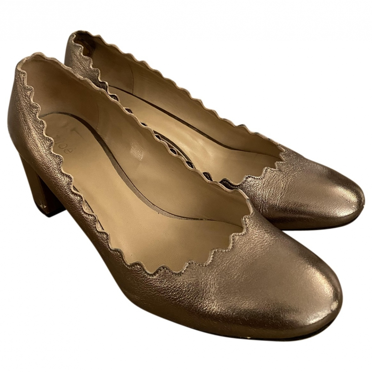 Chloé Lauren Gold Leather Heels for Women 36 EU