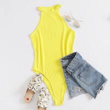 Neon Yellow Rib-knit Halter Bodysuit