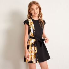 Girls Cap Sleeve Pleated Baroque Panel Belted Dress