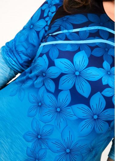 Asymmetric Hem Floral Print Ombre Plus Size T Shirt - 3X