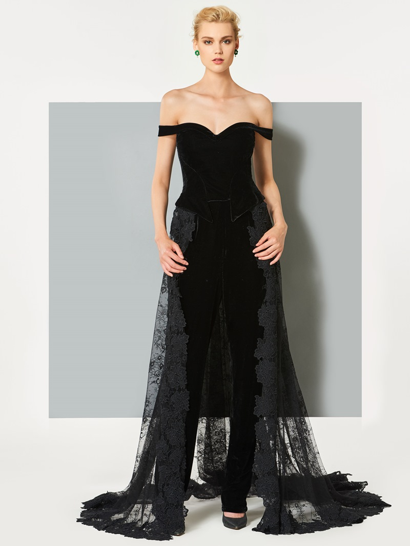 Ericdress Sheath Off-the-Shoulder Lace Short Sleeves Prom Jumpsuit