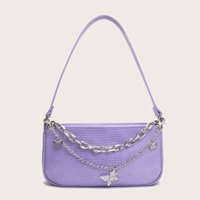 Croc Embossed Butterfly Baguette Bag