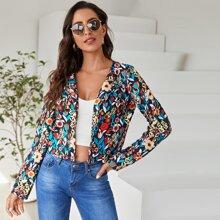 Crop Jacke mit Blumen Muster und offener Vorderseite