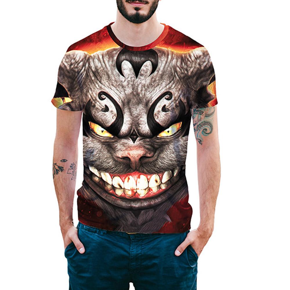 Beddinginn Print Fashion Round Neck Color Block Loose Mens T-shirt