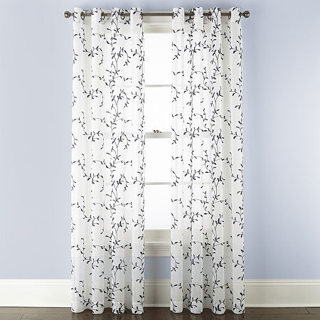 Linden Street Brooke Embroidered Sheer Grommet-Top Single Curtain Panel, One Size , White