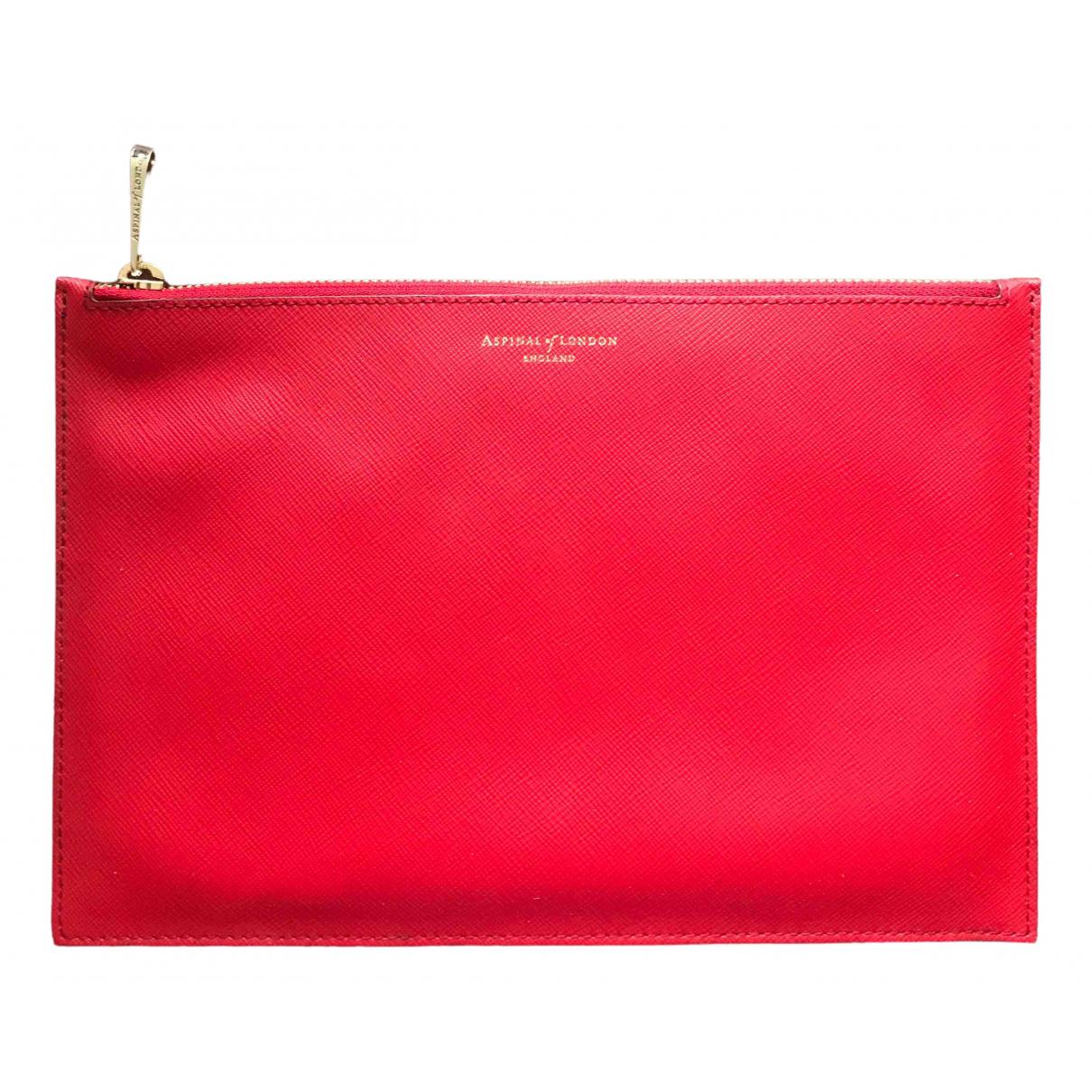 Aspinal Of London \N Clutch in  Rot Leder