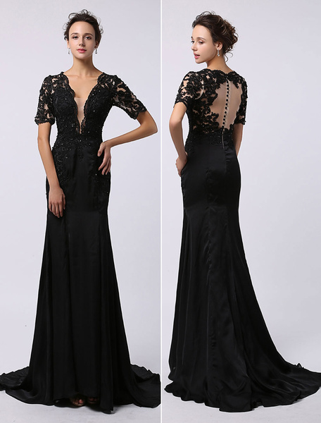 Milanoo Black Prom Dresses 2020 Long Backless Evening Dress Illusion Lace Applique Deep V Neck Short Sleeves Keyhole Buttons Back Court Train  wedding