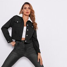 Teddy Collar Buttoned Front Jacket