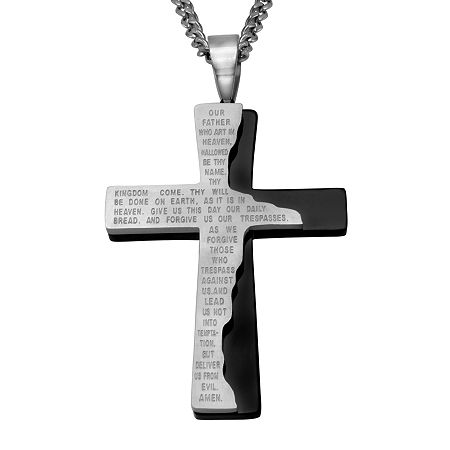 Mens Lord's Prayer Two-Tone Stainless Steel Cross Pendant Necklace, One Size , No Color Family