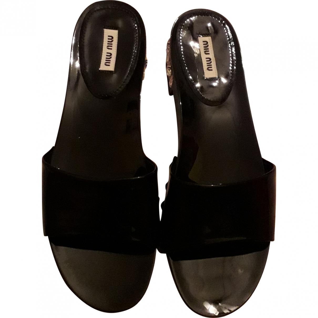 Miu Miu \N Black Patent leather Sandals for Women 39 EU