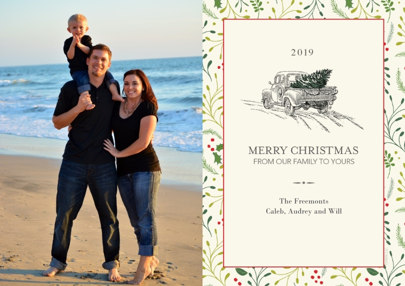 Christmas Photo Cards 5x7 Cards, Premium Cardstock 120lb, Card & Stationery -2019 Vintage Truck & Christmas Tree by Hallmark