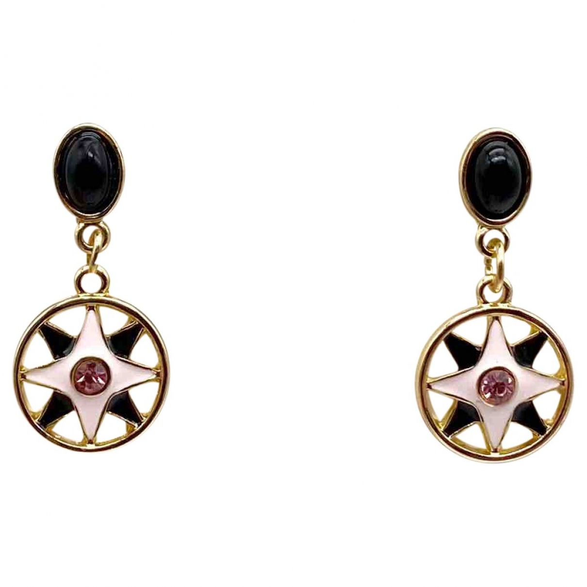 Non Signé / Unsigned Motifs Etoiles Gold Metal Earrings for Women \N