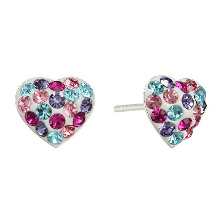 Childs Multicolor Crystal Heart Earrings, One Size , No Color Family