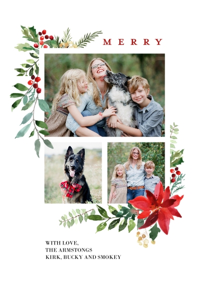 Christmas Photo Cards Flat Glossy Photo Paper Cards with Envelopes, 5x7, Card & Stationery -Christmas Woodgrain Merry Foliage by Tumbalina
