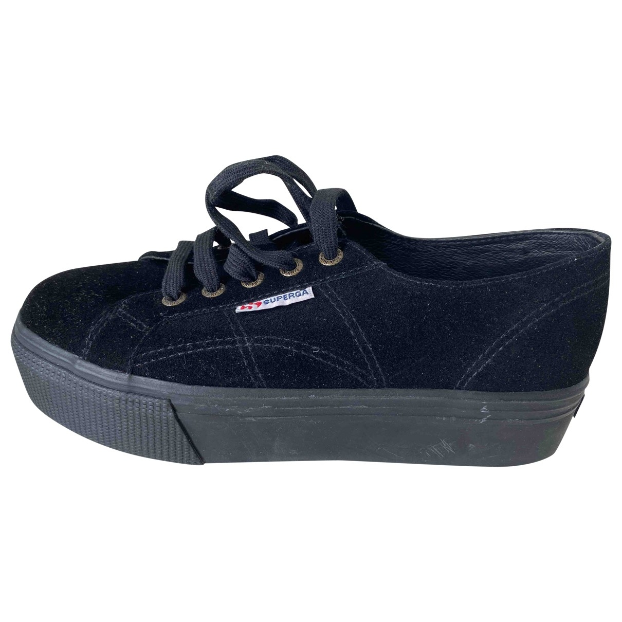 Superga \N Black Leather Trainers for Women 38 EU