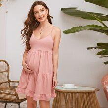 Maternity Ruffle Hem Slip Dress
