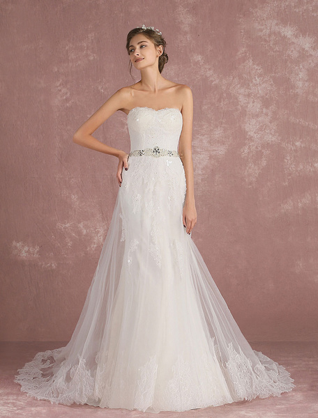 Milanoo Summer Wedding Dresses 2020 Tulle Strapless Bridal Dress Lace Applique Sequin Beading Sash A Line Bridal Gown With Train