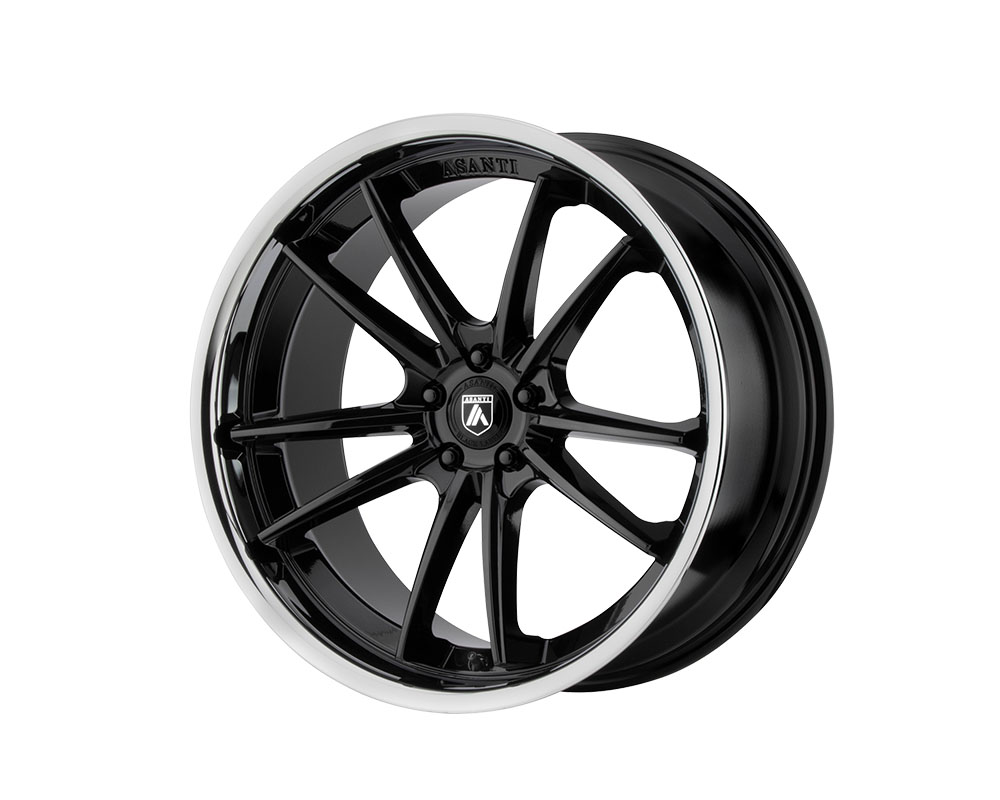 Asanti ABL23-22900015BK Black ABL-23 Delta Wheel 22x9 Blank +15mm Gloss Black Chrome Lip