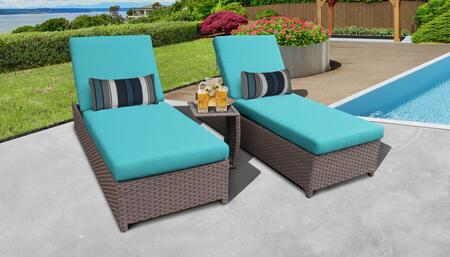 Florence Collection FLORENCE-W-2x-ST-ARUBA Patio Set with 2 Chaise with Wheels  1 Side Table - Grey and Aruba
