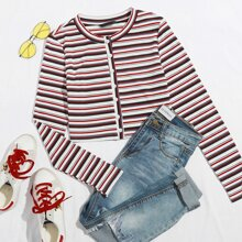 Striped Button Front Rib-Knit Crop Tee