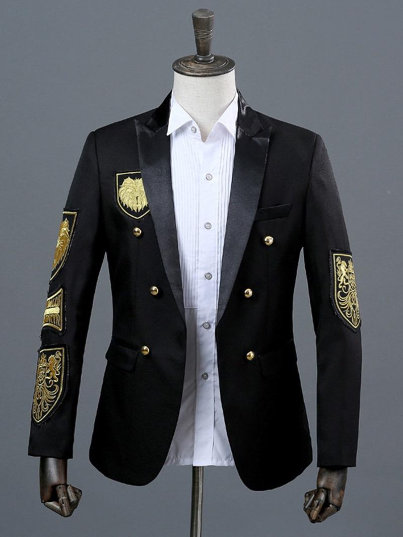 Ericdress Notched Lapel Color Block Mens Costume Casual Blazer