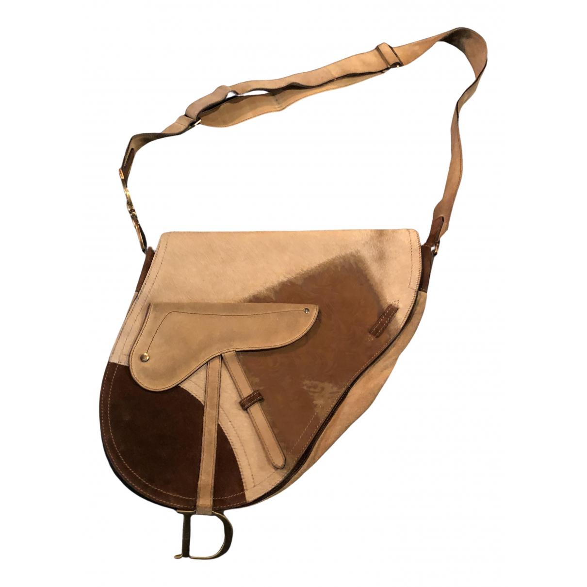 Dior - Sac a main Saddle pour femme en veau facon poulain - marron