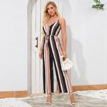Belted Color Block Striped Cami Jumpsuit
