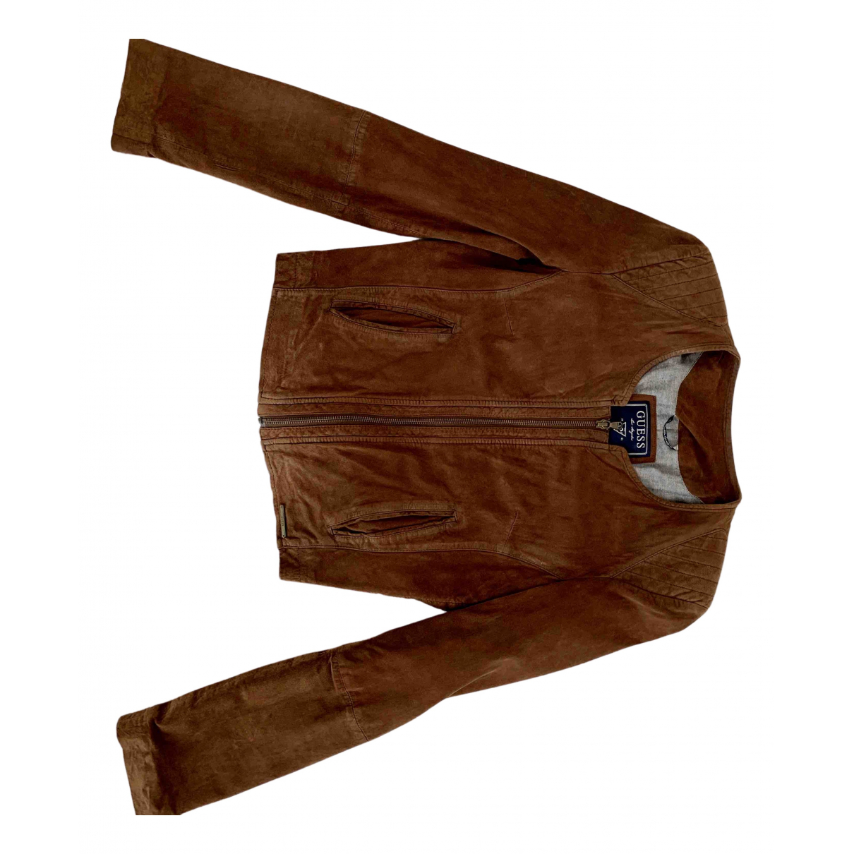 Guess N Brown Leather Leather jacket for Women M International