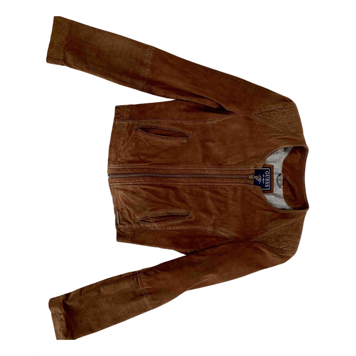 Guess - Blouson   pour femme en cuir - marron