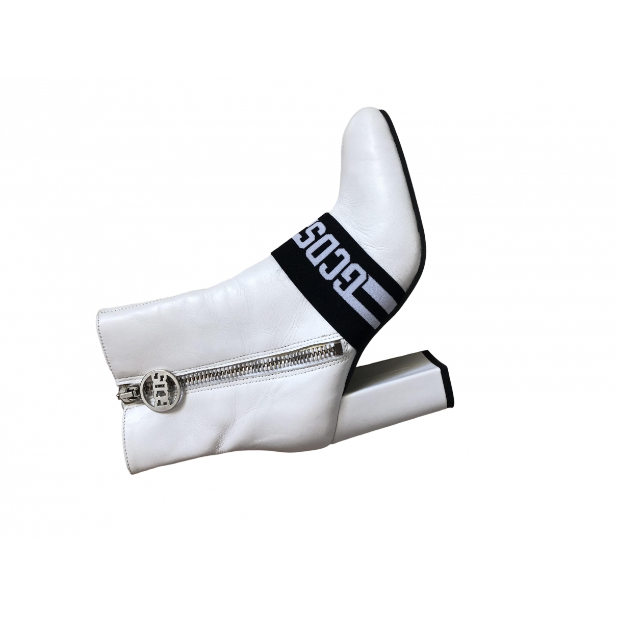 Gcds \N White Leather Ankle boots for Women 38 EU