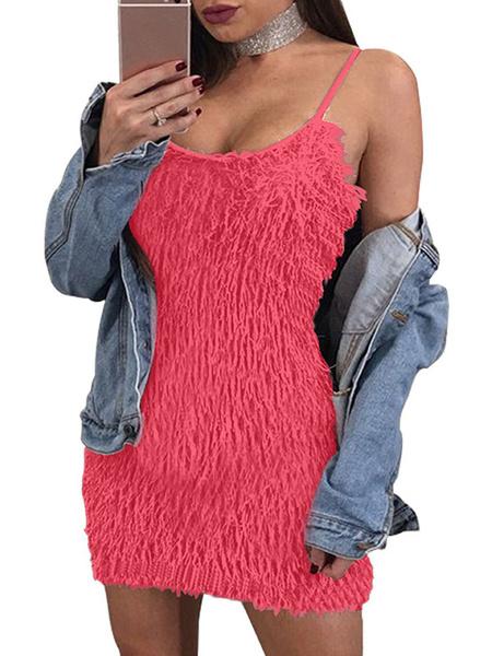 Milanoo Vestido de club sexy sin mangas correas franja forma mini vestido