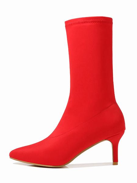 Milanoo Botas de las mujeres del calcetin Medio Estiramiento de la pantorrilla Botas punta estrecha 2.4\
