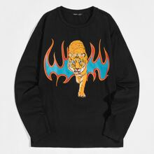 T-Shirt mit Tiger & Feuer Muster