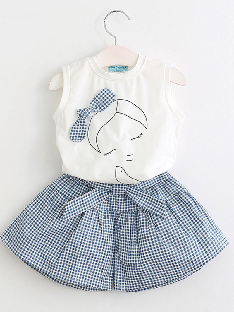 Ericdress Bowknot T Shirt & Plaid Pants Girl's Summer Outfits