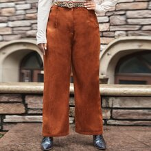 Plus Zipper Fly Solid Palazzo Cord Pants Without Belt