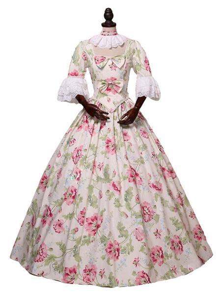 Milanoo Disfraz Halloween Rococo Retro Disfraces Estampado Floral Marie Antonieta Disfraz Vestido Mujer Ropa Vintage Carnaval Halloween