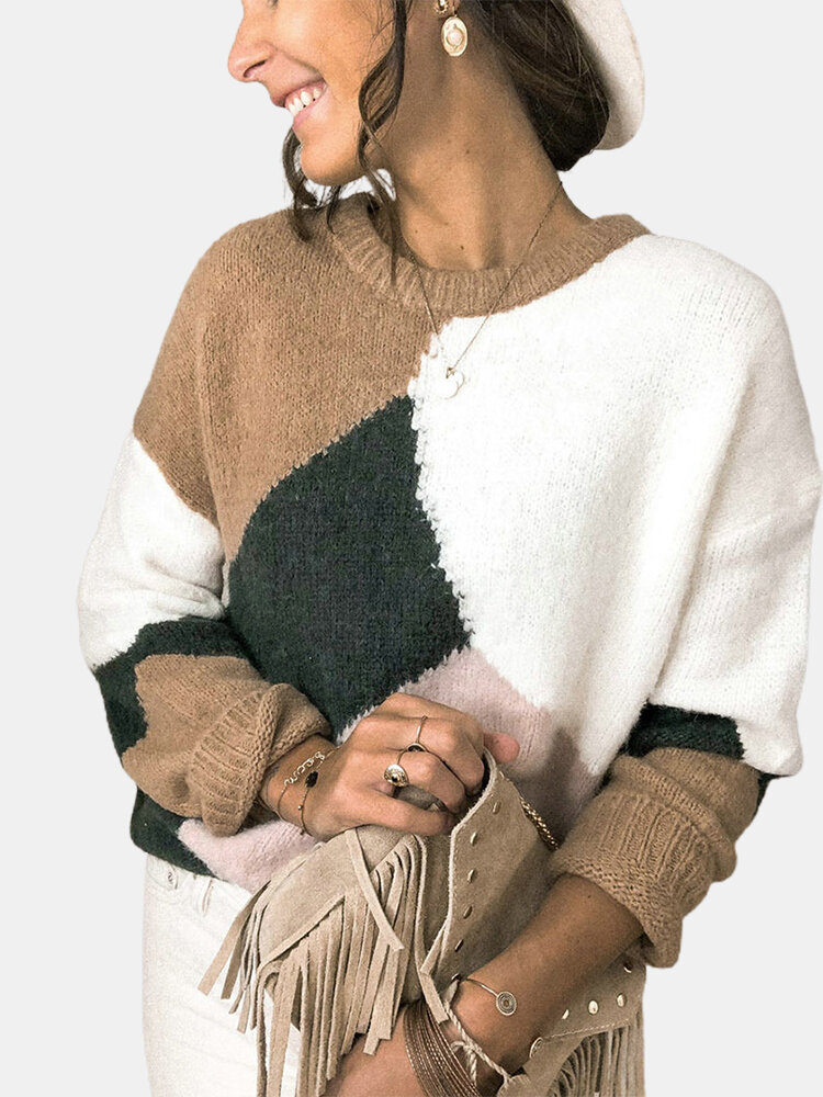 Contrast Color Patchwork Long Sleeve O-neck Sweater For Women