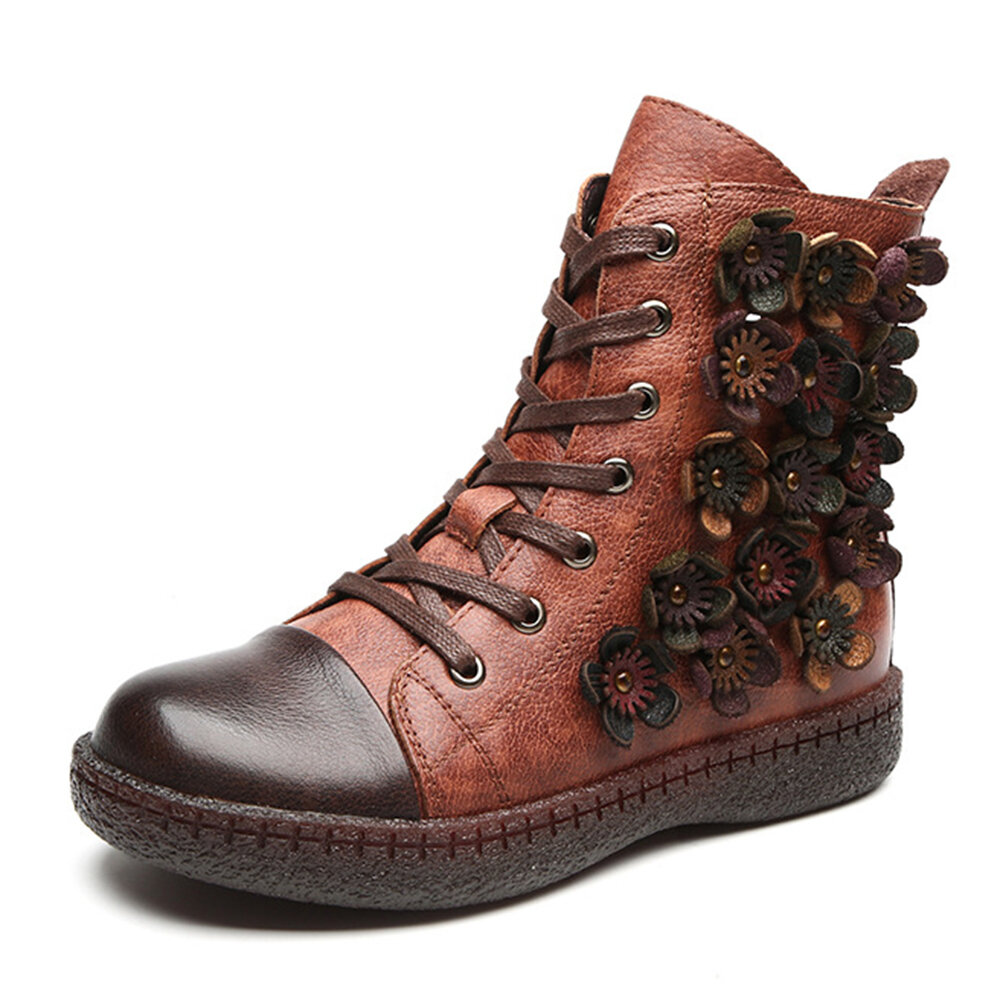 Women Retro Warm Handmade Flower Cow Leather Lace Up Zipper Flat Ankle Boots