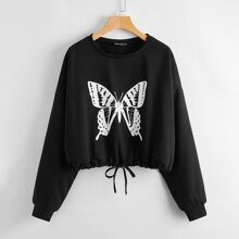 Drawstring Hem Drop Shoulder Butterfly Print Sweatshirt