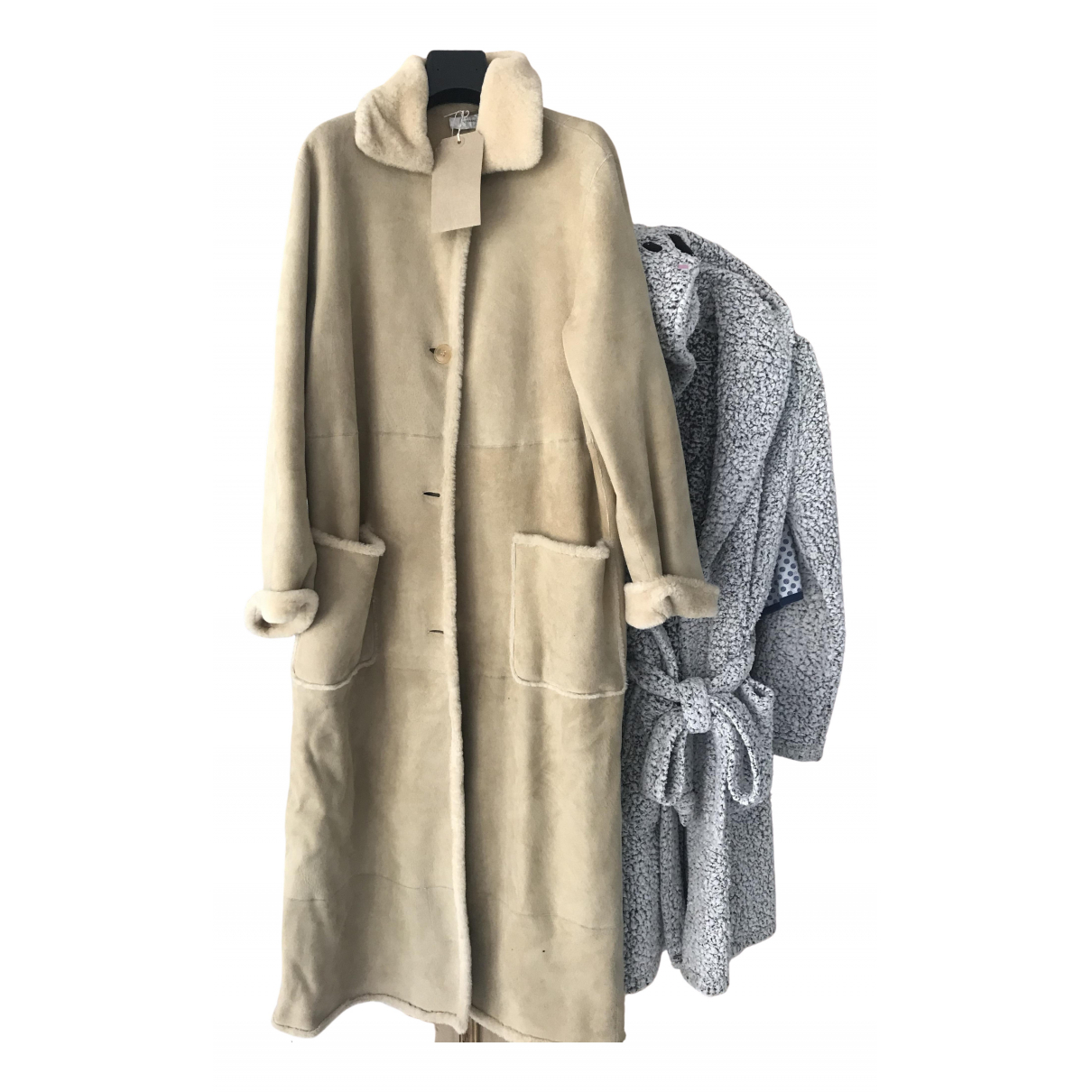 Non Signé / Unsigned \N Beige Shearling coat for Women 46 IT