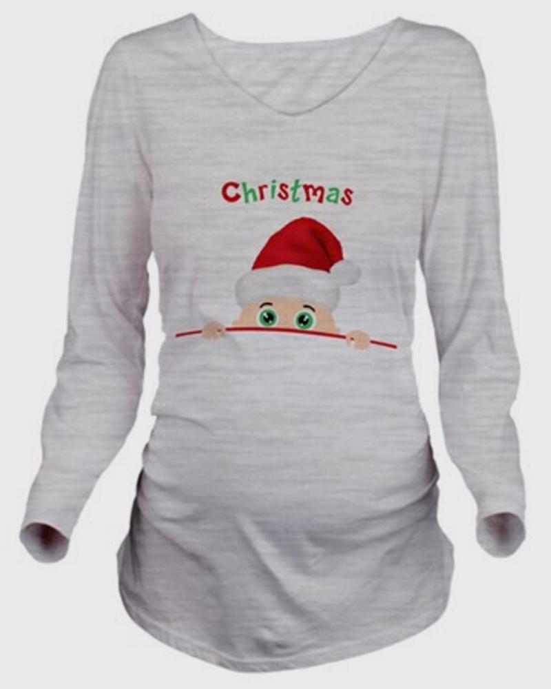 Casual Style Print Loose Model Nylon Christmas Maternity T-Shirt