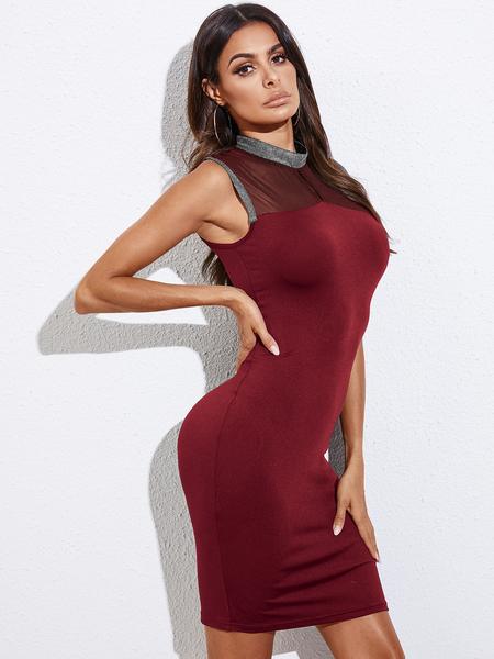 YOINS Hollow Design Crew Neck Sleeveless Dress